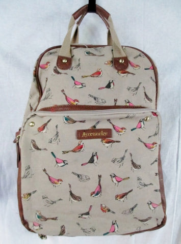 ACCESSORIZE BACKPACK Shoulder Rucksack Travel School Book BAG BEIGE BIRD Fun!