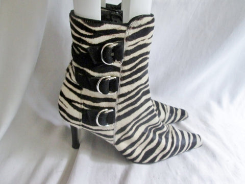 Womens Lord & Taylor Flex JACK 8 ZEBRA FUR BLACK WHITE Stripe Leather Booties Boot