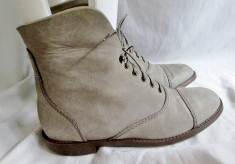 Womens 1937 Footwear ITALY Suede LEATHER Steampunk Ankle BOOT Booties 8 BEIGE Desert