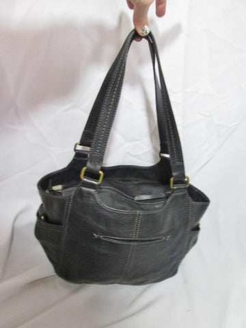 THE SAK Leather Sling Hobo Shoulder Bag Bucket Satchel Purse BLACK Tote