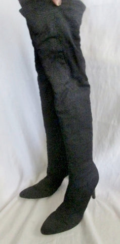 Womens NINE WEST SINISTER Vegan Thigh High Heel Boots FETISH BLACK 7.5