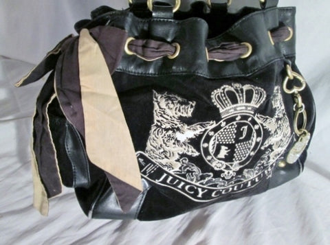 JUICY COUTURE Leather Velvet Heart DOG purse satchel BROWN M RHINESTONE Embroidered