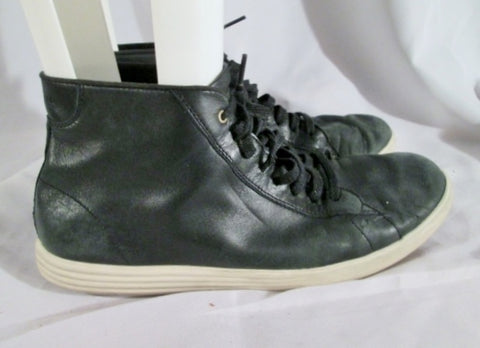 Mens COLE HAAN GRAND.OS Leather Sneaker Hi-Top Athletic Shoe 11 BLACK Fashion