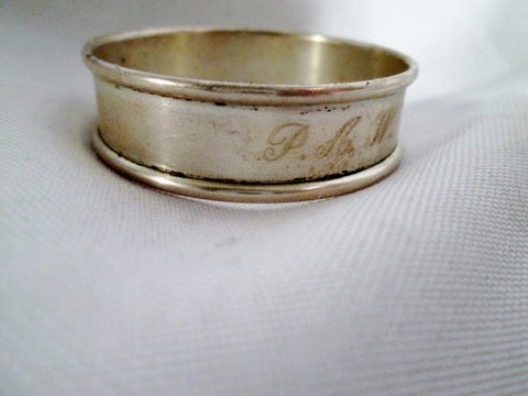 "Vintage 5.75"" Signed ALVIN STERLING SILVER N61 NAPKIN RING Band Monogram"