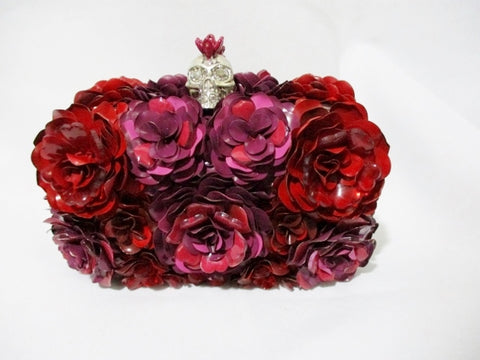 NEW ALEXANDER MCQUEEN METAL ROSE Box Clutch Bag RED SKULL MULTI NWT
