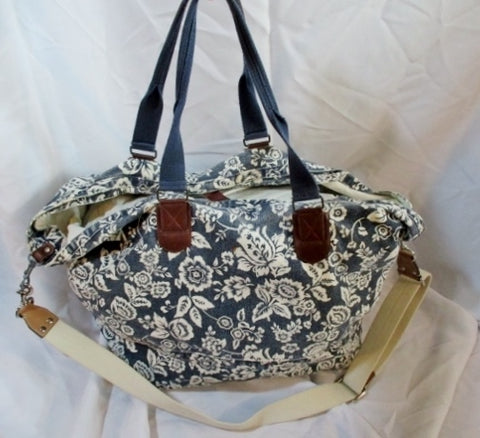 GAP Floral Canvas Tote Bag Purse Carryall Beach Book Crossbody BLUE WHITE