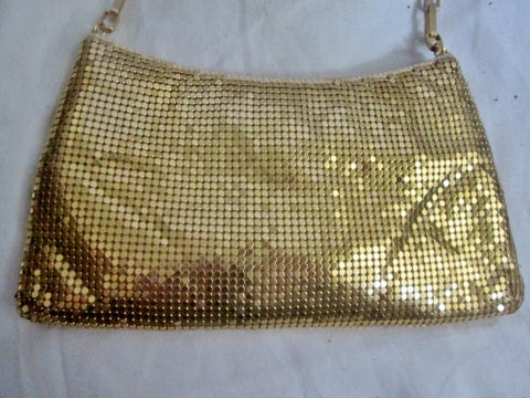 NEW PRESTON & YORK GOLD Metal Mesh Evening Bag Shoulder Chainlink S Purse