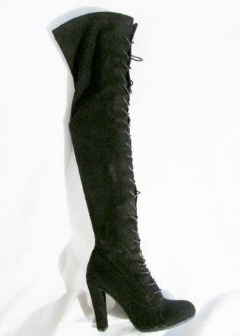 Womens FOREVER Thigh Stiletto Boots FETISH Party Victorian Witch BLACK 7.5 Kinky Tall