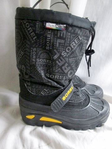 Junior Youth Boys SOREL ILLUMINITE Insulated Rain Snow Boots Shoes Winter BLACK 5 Duck