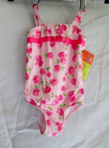 NEW NWT Toddler Kids PENELOPE MACK Swimsuit Bathing Suit 4 PINK ROSE Floral Preschool