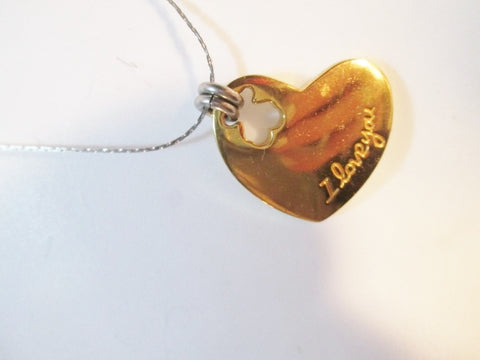 "19"" HEART CHARM ""I LOVE YOU"" PENDANT Necklace LOVE Soulmate Valentine GOLD SILVER"