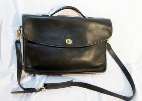 COACH 5265 Leather LEXINGTON Crossbody Shoulder Bag Briefcase Attache BLACK
