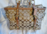 COACH Signature C Gallery Leather Jacquard Canvas Tote Purse Handbag 10384 BEIGE BROWN