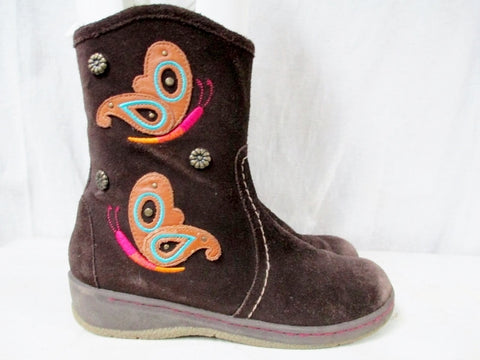 Girls STRIDE RITE JOHANNA Leather BOOTS Suede Embroidered BUTTERFLY BROWN 2