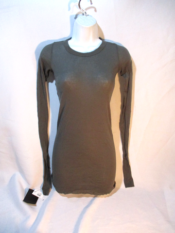 NWT NEW RICK OWENS MIRTA COTTON Top Shirt GRAY GREEN 8 / 38 BODYCON