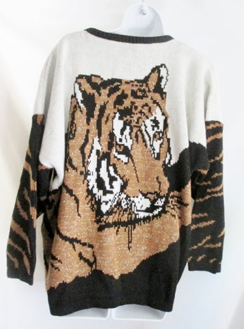 Womens Vintage VENEZIA Sportswear TIGER Sweater Glitter Pullover Animal Print CAT Top