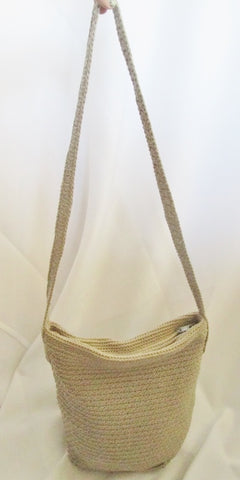 GENUINE SONOMA JEAN COMPANY knit shoulder bag hobo purse crochet BEIGE Vegan sling boho