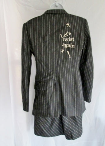Womens MOSCHINO Cheap & Chic ITALY 2 Pc Skirt Suit Set 8 GRAY PINSTRIPE
