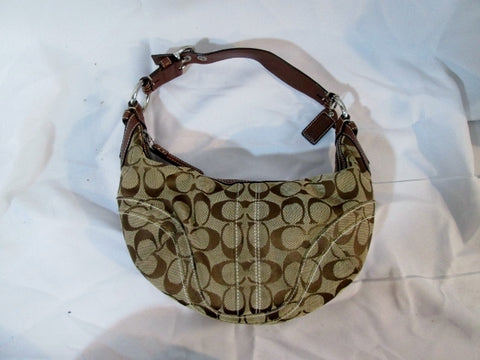 COACH 10073 Signature C Jacquard Hobo Handbag Satchel Canvas KHAKI Leather