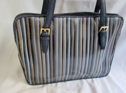 LORD & TAYLOR Striped Leather Tote Shoulder Bag Satchel Carryall GRAY BLACK BROWN