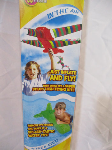 "NEW JAKKS PACIFIC FUNFLATABLE 2 in 1 KITE AIRPLANE AIRSHOW KITE 60"" Wingspan"