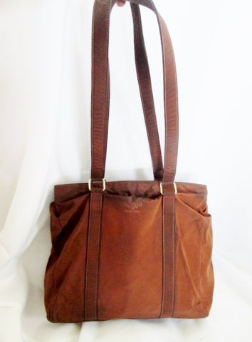 MARC CROSS NEW YORK ITALY Leather Shoulder Bag Duffle Duffel Tote BROWN Nylon