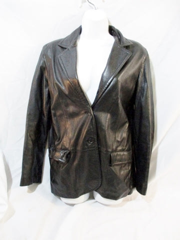 MARGARET GODFREY Leather Jacket Riding Coat BLACK 10P Moto Blazer Womens
