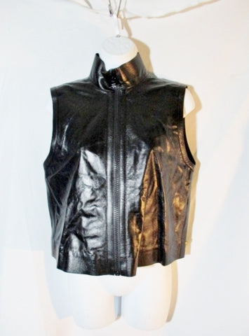 NWT New LOUIS VUITTON LEATHER Vest Zip Sleeveless blouse moto 38 6 BLACK