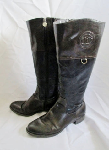 Womens ETIENNE AIGNER CHASTITY Leather Moto BOOT BROWN 10 BLACK Rocker