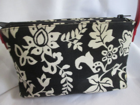 ARLEEN C. INC. FLORAL Leather Satchel Cloth Purse Shoulder Bag WHITE BLACK RED