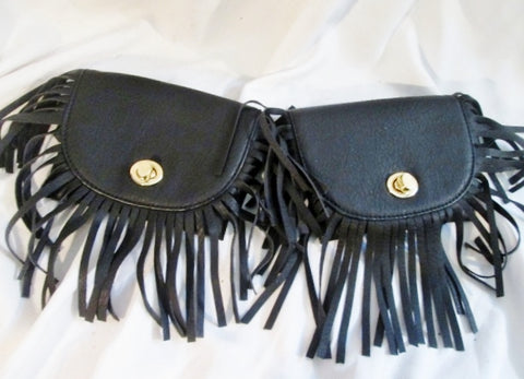 Vegan FRINGE TASSLE Running Bumbag Fanny Pack Waist Belt Bag Case Pouch BLACK Sack