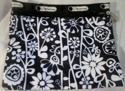 LESPORTSAC Nylon purse wallet pouch case organizer vegan bag BLACK WHITE FLORAL