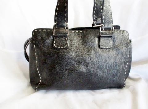 ASHNEIL Leather Satchel Purse Shoulder Bag Tote Silver BLACK Stitch Pebbled