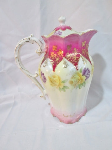 Antique HAND PAINTED FLORAL PITCHER YELLOW PURPLE ROSE Japan Gilt