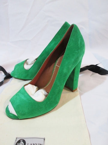 Womens LANVIN ETE 2010 Peep Toe Pump Suede Shoe GREEN 36 / 6 Leather