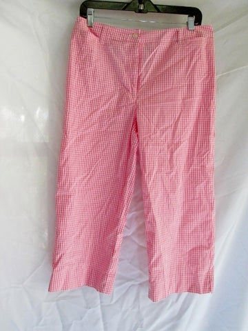 Womens RALPH LAUREN Cotton Capri Cropped Pants 10 PINK PLAID Preppy