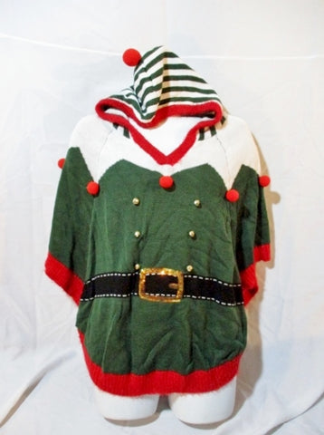 NEW LOVE BY DESIGN ELF PONCHO Christmas Jacket Hoodie M Green Red NWT