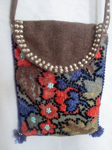 NEW NWT CHRISTIAN LIVINGSTON KILIM TAPESTRY CARPET bag purse BROWN FLORAL Boho