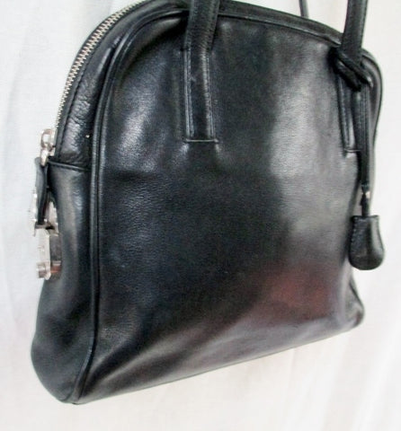 CALVIN KLEIN ITALY Leather Shoulder Bag Tote Handbag Satchel Bowler BLACK M