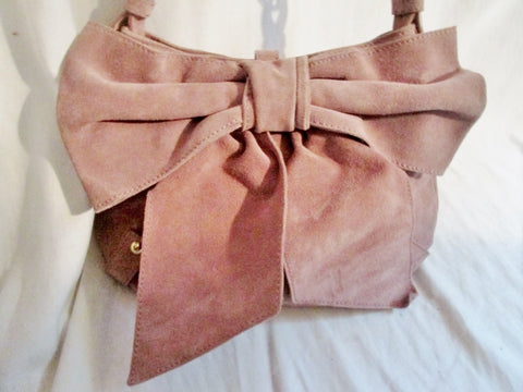 CALYPSO St. BARTH ITALY suede leather clutch satchel shoulder bag boho PINK BOW