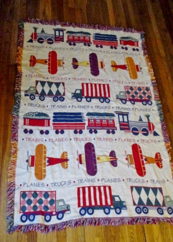 TRAINS PLANES TRUCKS Rug Tapestry Afghan Throw Blanket Boys Room Nursery FULL