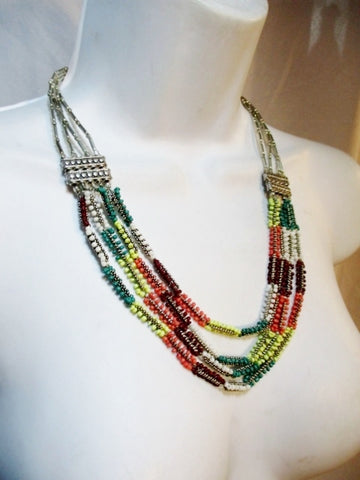NEW NWT ISLAND HARRY HASLETT Multi STRAND Necklace Tiered SILVER Multi