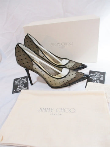NEW JIMMY CHOO MESH Stiletto Heel Pump Shoe 36.5 6 BLACK Dot Patent Leather