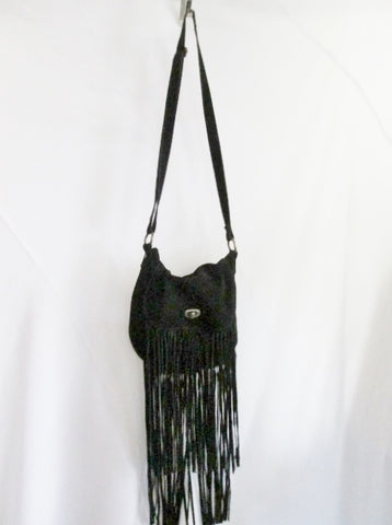 ECOTE suede FRINGE leather hobo satchel shoulder saddle bag BLACK hippie boho