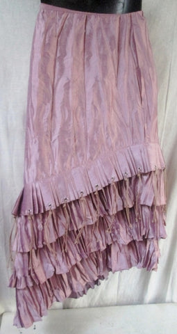 Womens NICCI SKIRT Sheer Boho Indie Tiered Ruffle Lined Pleated S PINK Hippie