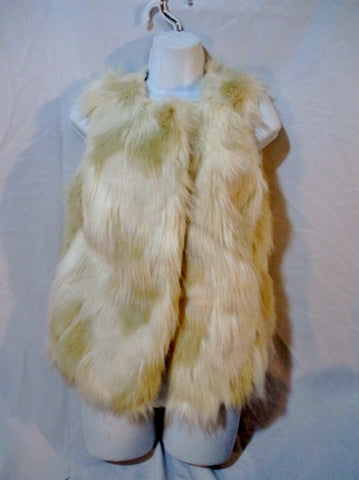 FOREVER 21 Faux FUR Vest Sleeveless Jacket Coat SHAGGY M CREME BEIGE ECRU