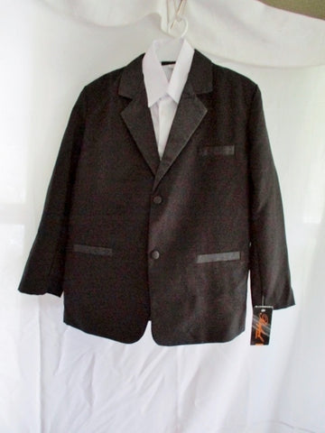 NEW BOYS RAFAEL Set TUXEDO VEST Shirt 12 BLACK Formal Party Wedding Recital