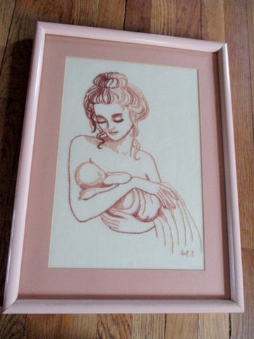 Handmade NURSING BREASTFEEDING EMBROIDERY Art New Mom PINK Original
