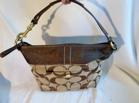 COACH 11957 SIGNATURE HAMPTON Jacquard HOBO SHOULDER BAG BROWN Canvas Leather