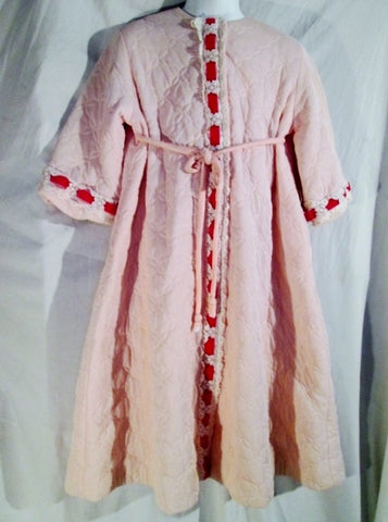 Vintage Girls PETTI-ROBE BY LOUNGERS Bathrobe Coverup Lace Ribbon Princess PINK S